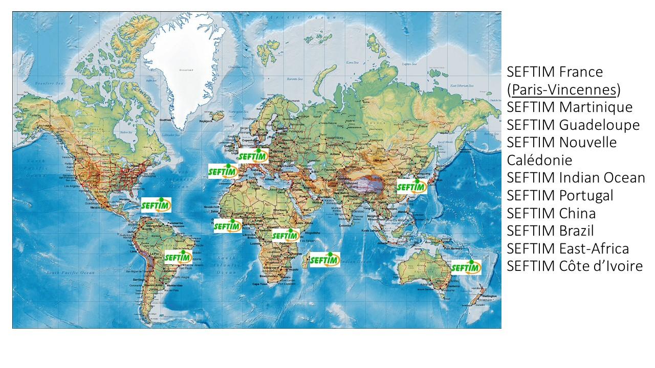 carte du monde martinique SEFTIM worldwide » SEFTIM
